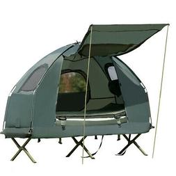 1-Person Compact Portable Pop-Up Tent/Camping Cot w/ Air Mat