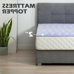 """2"""" King Size Comfort Gel Memory Foam Mattress Topper Bedroom"""