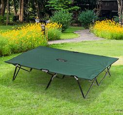 """Outsunny 76"""" Two Persons Double Wide Folding Camping Cot Wit"""