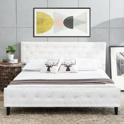 Queen Size PU Leather Metal Bed Frame Button Tufted Upholste