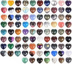 JUST IN STONES Assorted Gemstone Mini 20mm Puffy Heart Heali