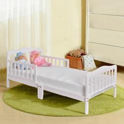Baby Toddler Bed Kids Children Wood Bedroom Furniture w/ Saf