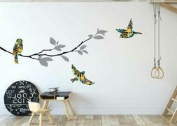 Birds Branch Wall Art Decal Nursery Kids Baby Cot Decor Anim