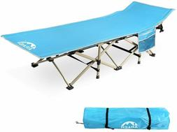 Camping Cot, 450LBS , Portable Foldable Outdoor Bed with Car