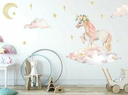 Dreaming Unicorn Wall Stickers Floral Nursery Decal Baby Cot