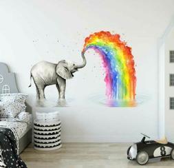 Elephant Rainbow Wall Decal Kids Nursery Stickers Baby Cot D