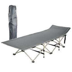 Folding Camping Cot Bed Outdoor Portable Military Cot w/ Car
