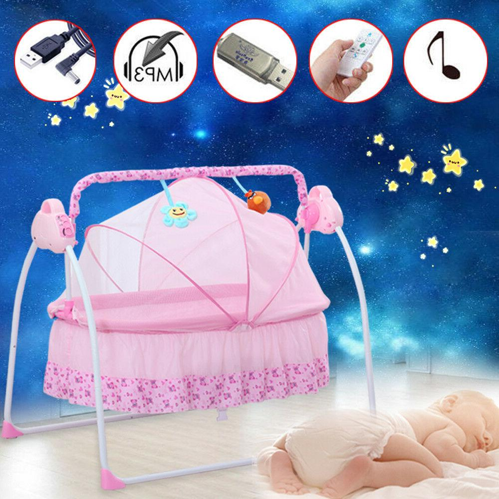 Baby Travel Bassinet Pink Bluetooth Furniture+Mat