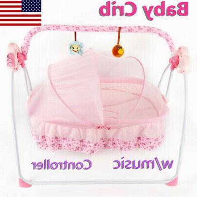 baby travel cot bassinet pink bed swing