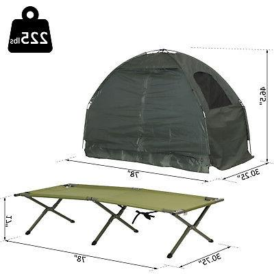 Outsunny Compact Folding Man Camping Cot Bed Adults