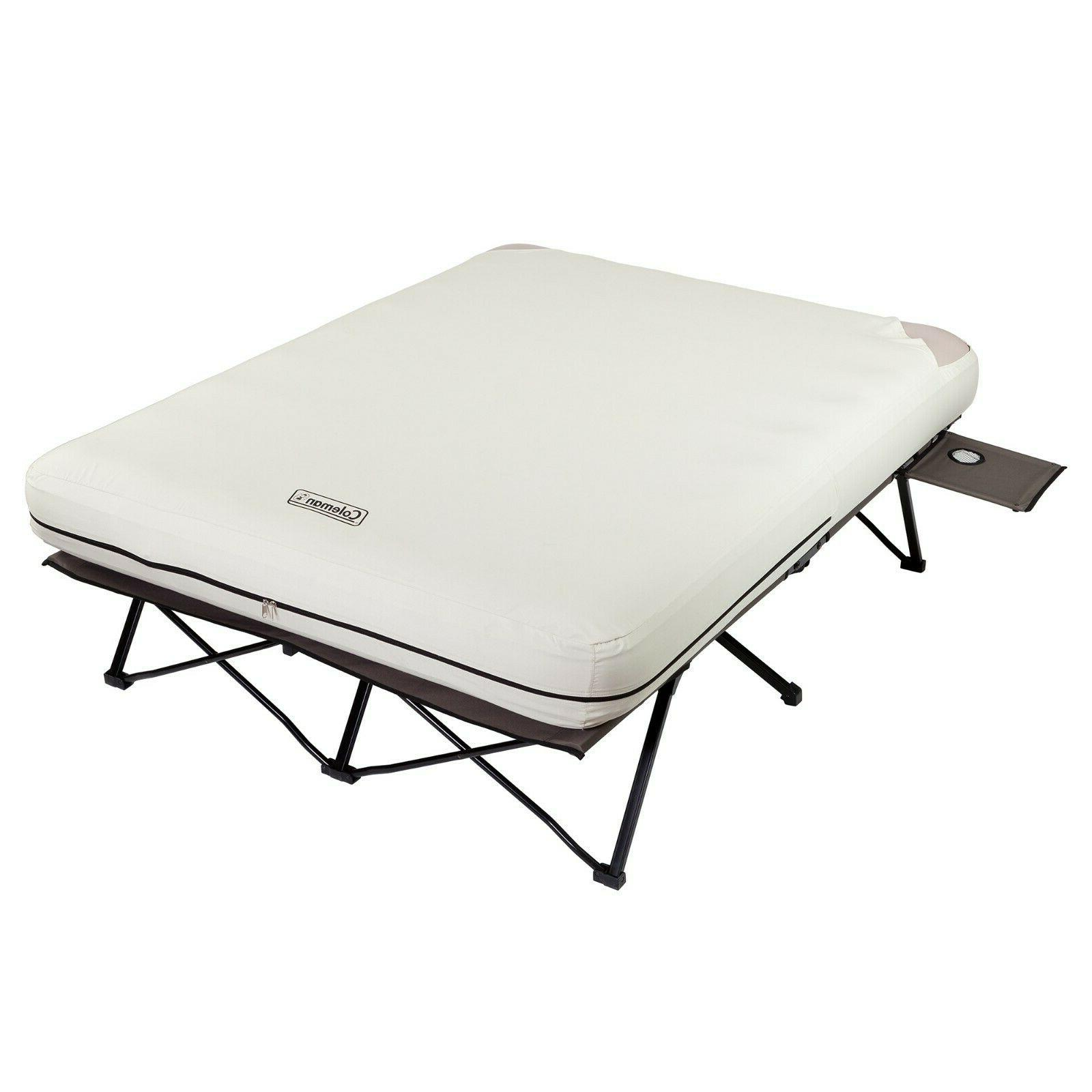 Camping Cot Air Mattress Bed Combo With Pump Side Tables Que