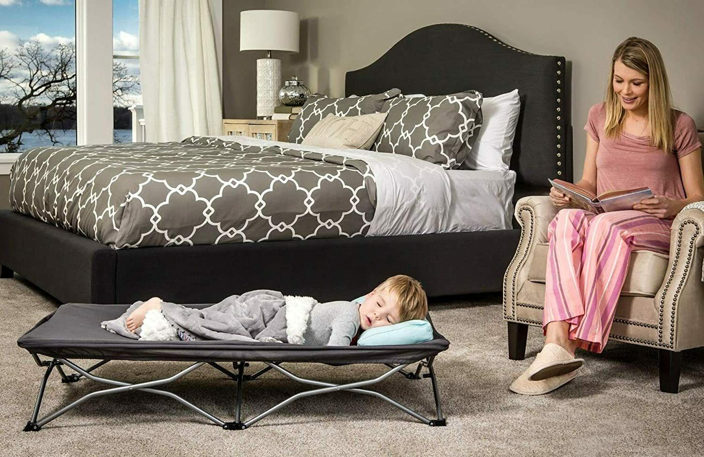 Durable Toddler Cot Furniture Case Fold Camp Grey