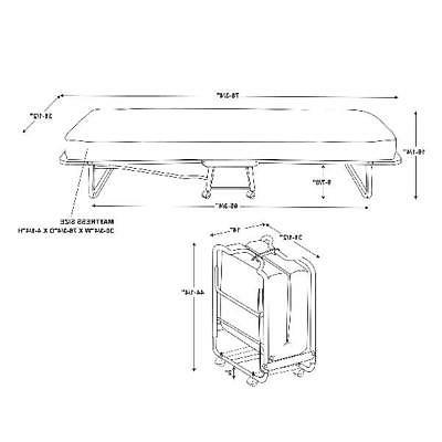 "Folding Cot-Sized 4.5"" Memory Foam Sleep Rollaway Space Saver"
