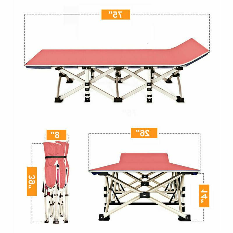 Portable Cot Hiking Office Rollaway Bed w/Mattress+Carry