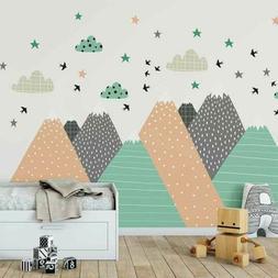 Nordic Mountain Wall Sticker Kid Nursery Baby Cot Decal Furn