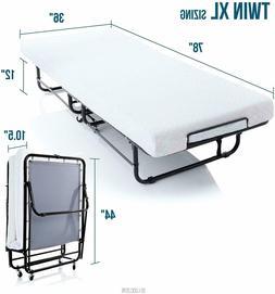 Twin XL Guest Bed Folding w/ Memory Foam Mattress Rolling Co
